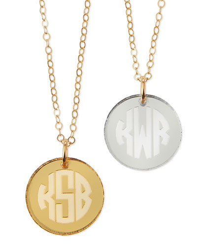 Hartford Mirrored Acrylic Reverse Monogram Pendant Necklace