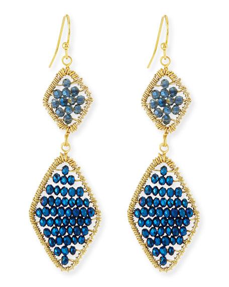 Beaded Crystal Double-Drop Earrings