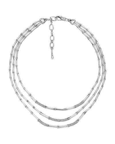 Bamboo Silver Three-Row Diamond Necklace