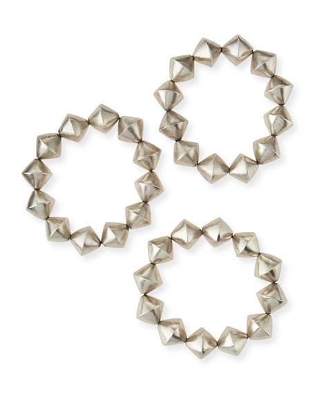 Silver Cone Stretch Bracelets, Set of 3