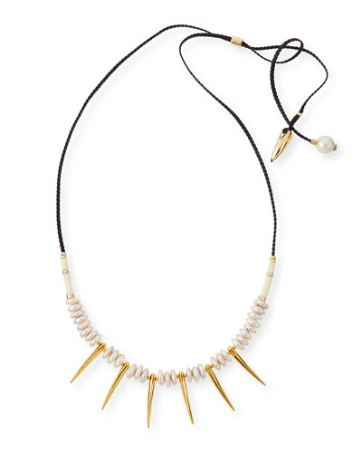 Pyramid II Pearl & Spike Necklace