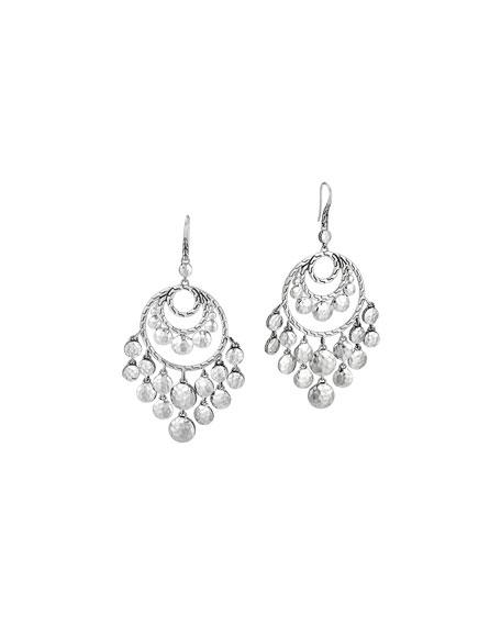 Palu Silver Disc Chandelier Earrings