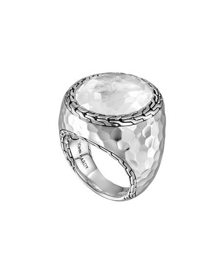 Batu Palu Silver Ring with Moon Quartz, Size 7