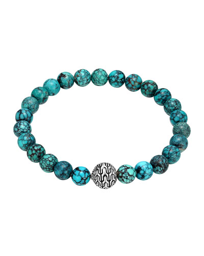 Large Turquoise Beaded Bracelet with Magnetic Clasp