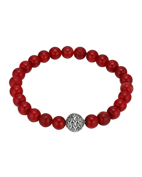 John Hardy Large Coral Beaded Bracelet With Magnetic Clasp