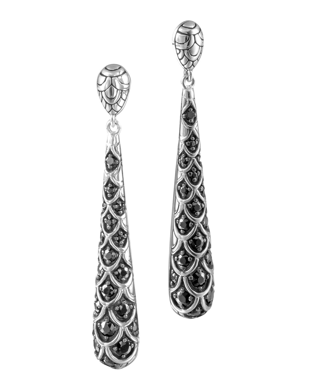 Naga Silver Lava Drop Earrings With Black Shire