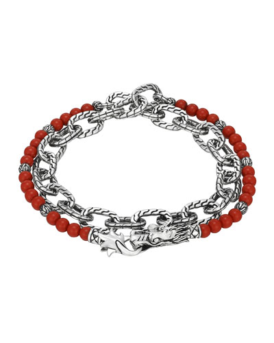 Double Wrap Silver Link Bracelet with Coral