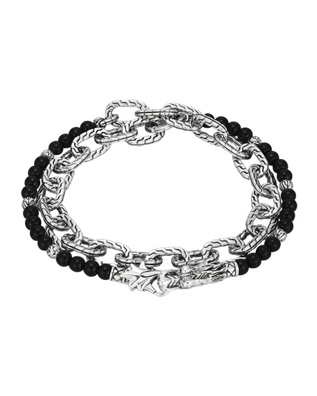 John Hardy Naga Double Wrap Silver Link Bracelet