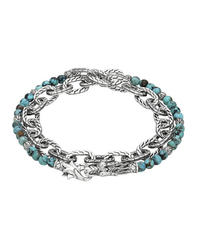 Naga Double Wrap Silver Link Bracelet with Turquoise