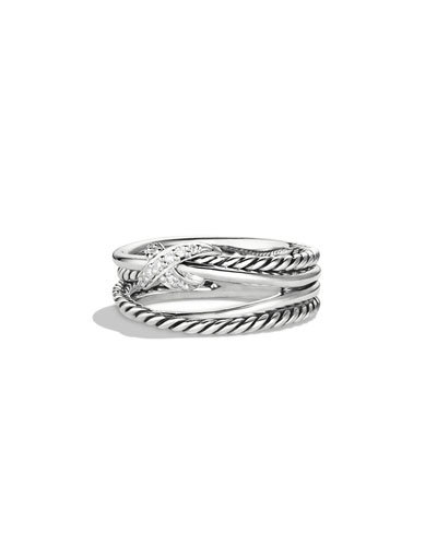 X Crossover Ring with Diamonds, Size 8