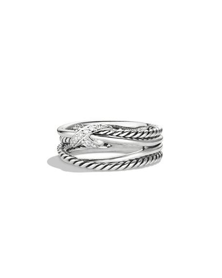 David Yurman X Crossover Ring With Diamonds Size 8