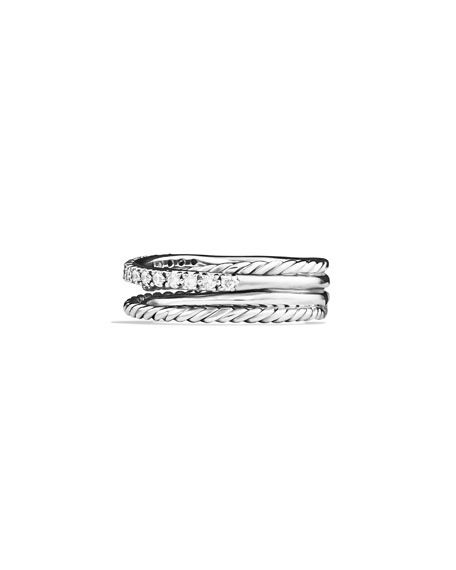 Crossover Ring with Diamonds, Size 6