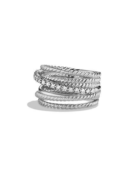 David Yurman Crossover Wide Ring with Diamonds, Size 6