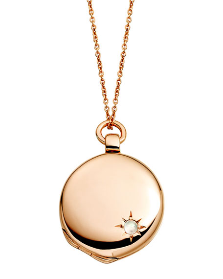14k Rose Gold Astley Locket Necklace with Moonstone