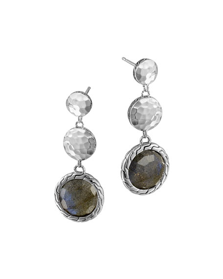 John Hardy Silver Triple Drop Labradorite Earrings