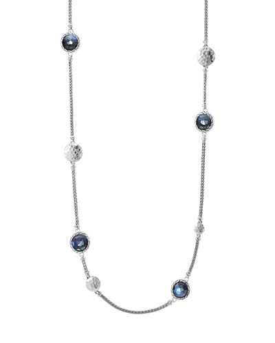 Palu Silver Disc-Station Sautoir Necklace with Labradorite