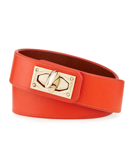 Givenchy Calf Leather Shark-Lock Wrap Bracelet, Orange