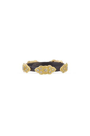 Armenta Old World Stackable Champagne Diamond Scroll Ring, Size 5-8