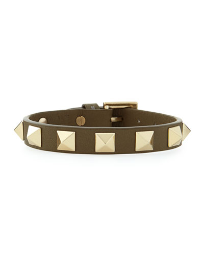 Small Rockstud Leather Buckled Bracelet, Green