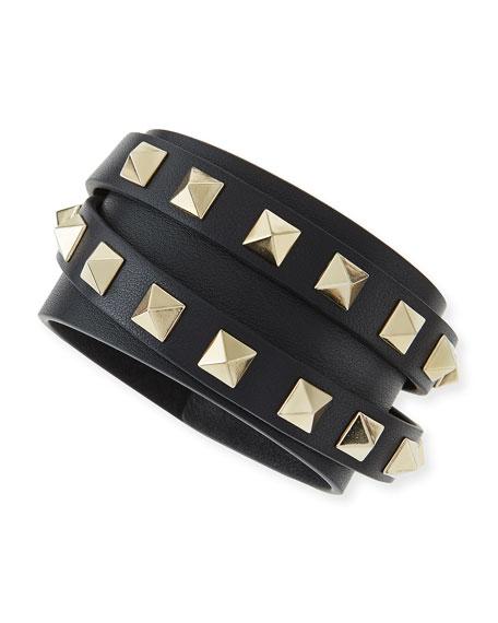 Rockstud Leather Wrap Bracelet, Black