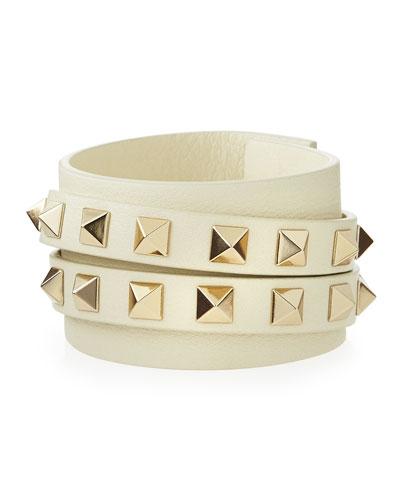 Rockstud Leather Wrap Bracelet, Ivory
