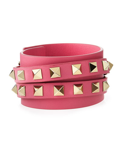 Rockstud Leather Wrap Bracelet, Pink