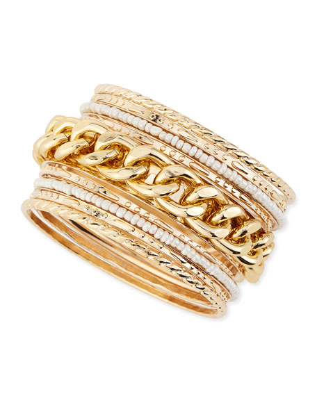 Chain and Pearly Bead Bangles, Set of Nine
