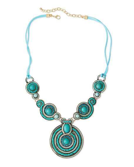 Bead & Crystal Statement Necklace, Turquoise