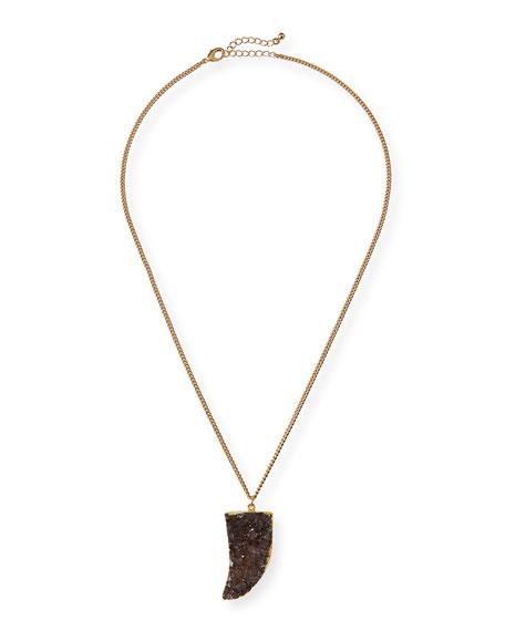 Purple Druzy Horn Pendant Necklace