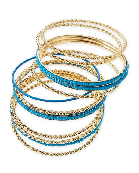 Beaded Golden Bangles, Set of 13
