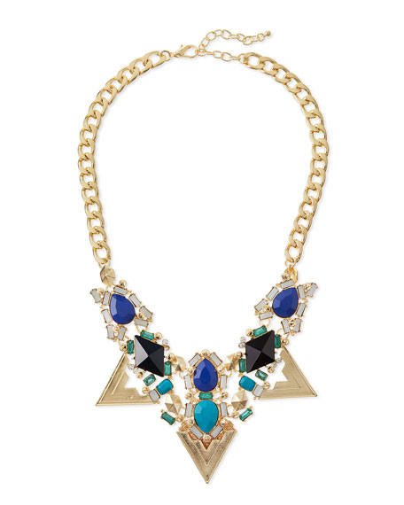 Triangle Crystal Statement Necklace, Blue