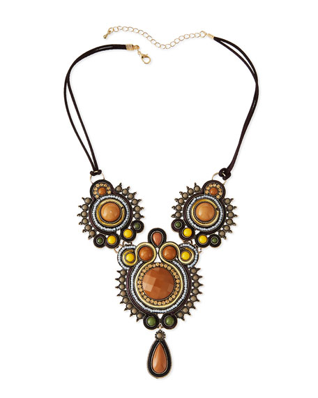 Cabochon Crystal Statement Necklace, Brown