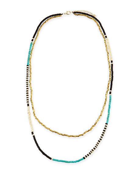 Beaded Double-Strand Necklace, Turquoise/Black