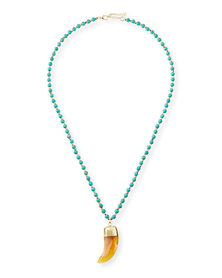 Turquoise-Beaded Horn Necklace