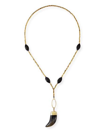 Beaded Horn-Pendant Necklace, Black