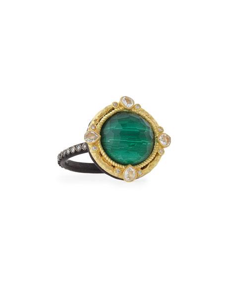 Malachite Blue Topaz Diamond & Sapphire Ring