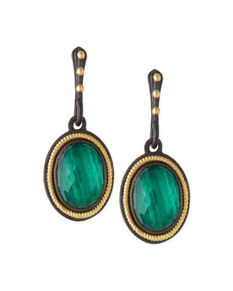Malachite Blue Topaz Rope-Bezel Drop Earrings