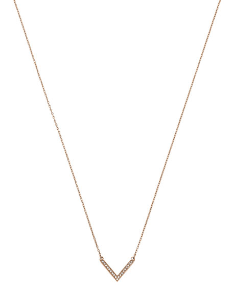 Rose Golden Pave Arrow Pendant Necklace
