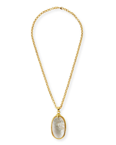 Jose & Maria Barrera Mother-of-Pearl Oval Pendant Necklace