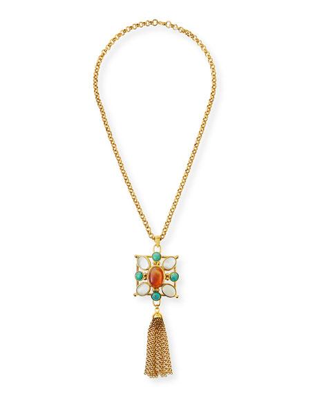 Jose & Maria Barrera Square Pendant Tassel Necklace