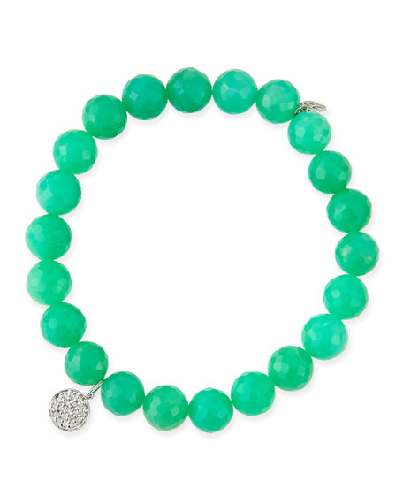 8mm Chrysoprase Beaded Bracelet with Diamond Disc Charm