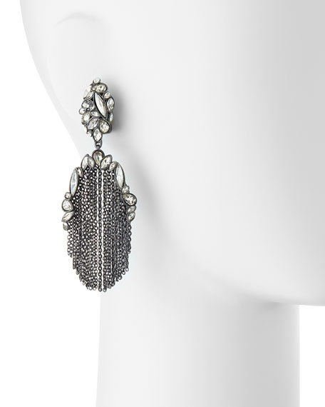 Liquid Crystal Chain-Tassel Clip Earrings