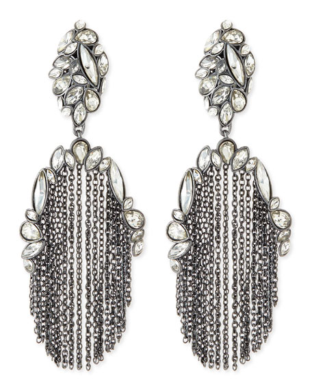 Liquid Crystal Chain-Tassel Clip Earrings