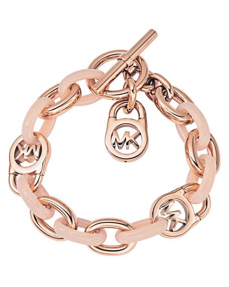 michael kors logo lock charm bracelet rose golden. Black Bedroom Furniture Sets. Home Design Ideas