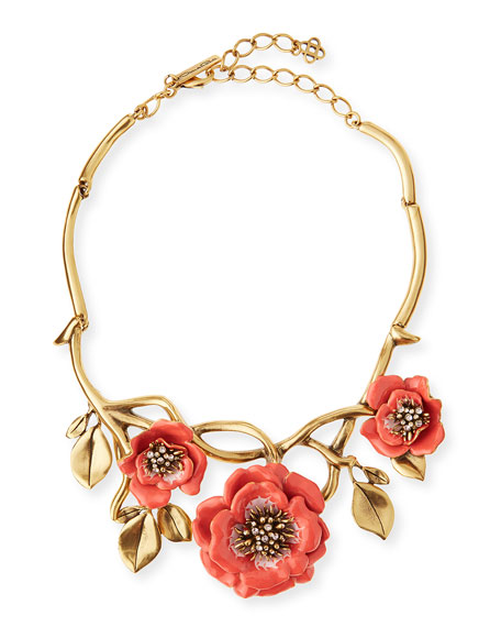 Painted Flower Statement Necklace