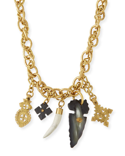 Tego Bronze Necklace with Horn Charms