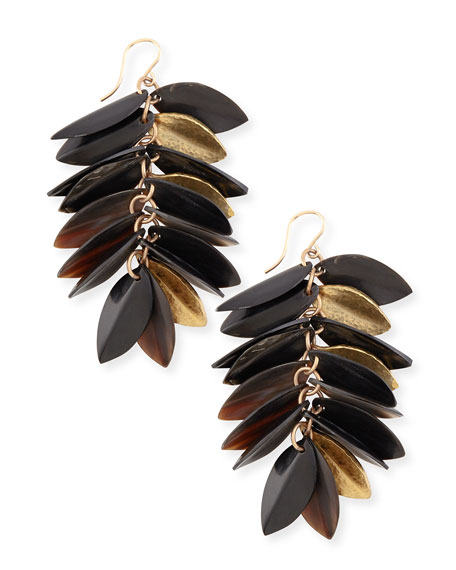 Ashley Pittman Tanzu Dark Horn & Leaf Earrings