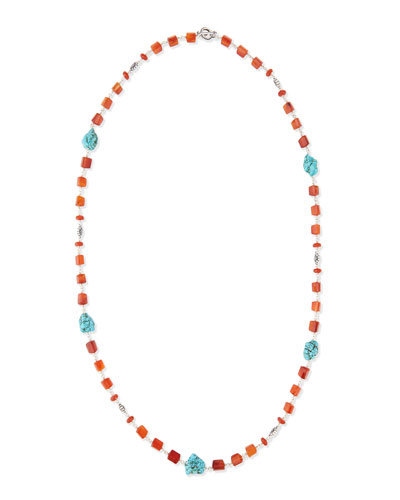 Long Turquoise-Station Beaded Necklace, 36""