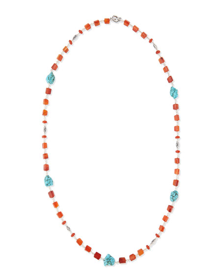 """Long Turquoise-Station Beaded Necklace, 42""""L"""