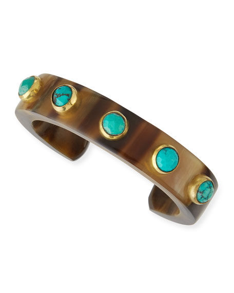 Ashley Pittman Mbegu Dark Horn & Turquoise Cuff